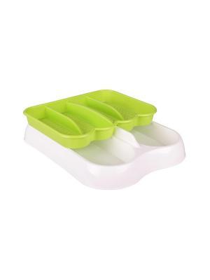 Лоток для столовых приборов раздвижной (бело-зелёный) Альтернатива. Цвет: салатовый, белый