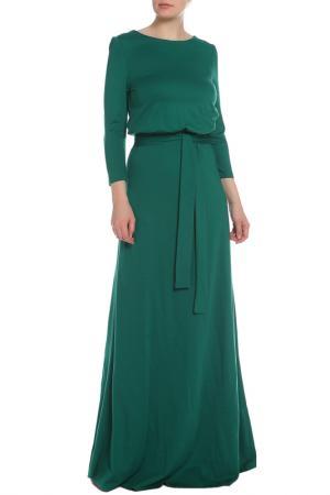 Полуприлегающее платье с поясом La Reine Blanche. Цвет: зеленый