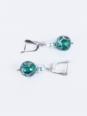Серьги Jana Duff М5473 цвет зеленый, серебряный. Цвет: зеленый