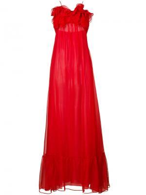 Вечернее платье с оборками Daniele Carlotta. Цвет: красный