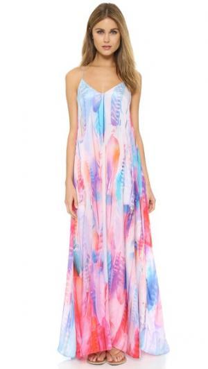 Макси-платье с изображением перьев Lotta Stensson. Цвет: перья пастельного цвета