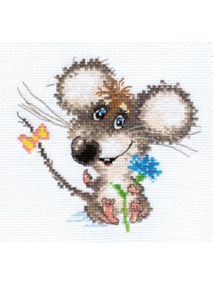 Влюбленный мышонок  13х12 см Алиса. Цвет: голубой, светло-серый, зеленый, серый, темно-серый