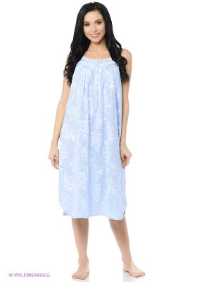 Ночная сорочка Eileen West. Цвет: голубой, белый