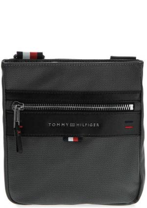 Маленькая текстильная сумка через плечо Tommy Hilfiger. Цвет: серый