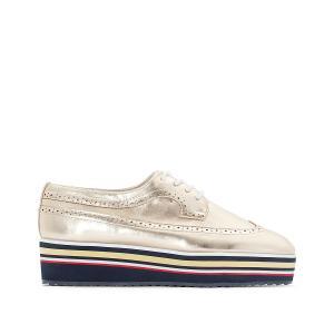 Ботинки-дерби с металлическим блеском и подошвой в полоску La Redoute Collections. Цвет: золотистый,серебристый