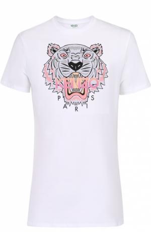 Хлопковая футболка с контрастным принтом Kenzo. Цвет: белый