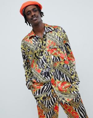 Jaded London Пижамная рубашка с принтом. Цвет: черный