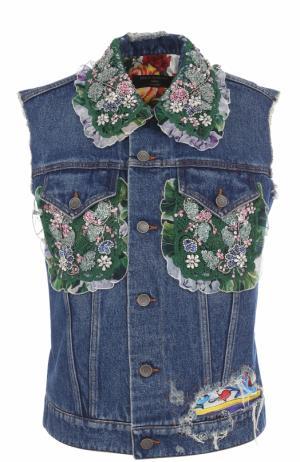 Джинсовый жилет с контрастной отделкой Dolce & Gabbana. Цвет: темно-синий