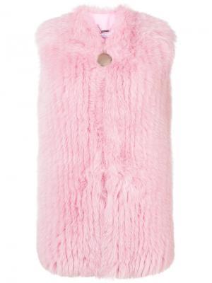 Лисья шуба без рукавов Givenchy. Цвет: розовый и фиолетовый