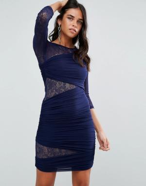Forever Unique Облегающее платье с рукавами 3/4 и кружевными вставками. Цвет: темно-синий