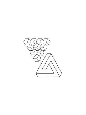 Временная переводная тату Невозможный треугольник МнеТату. Цвет: черный