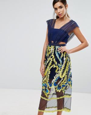 Three Floor Платье миди с вышивкой на юбке. Цвет: мульти