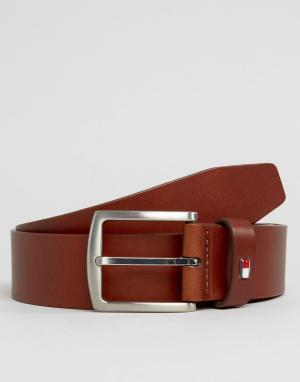 Tommy Hilfiger Светло-коричневый кожаный ремень с логотипом Denton. Цвет: рыжий