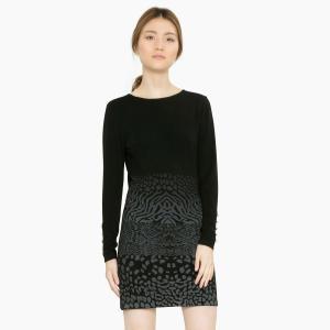 Платье короткое с длинными рукавами DESIGUAL. Цвет: черный