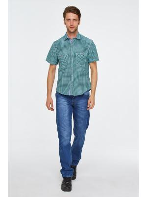Рубашка Westrenger. Цвет: зеленый, белый