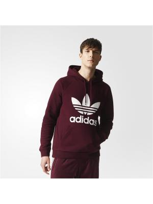 Толстовка худи TREFOIL HOODY MAROON Adidas. Цвет: бордовый