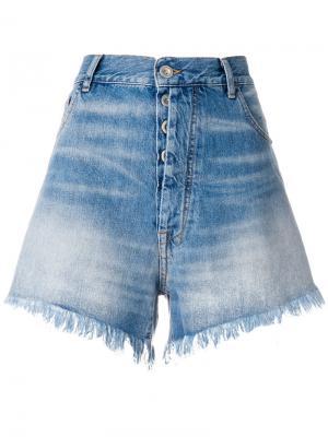 Джинсовые шорты с бахромой Unravel Project. Цвет: синий