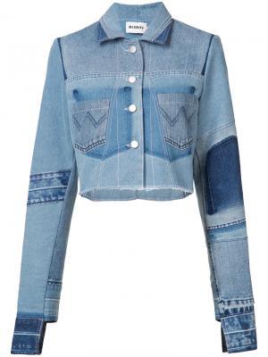 Джинсовая куртка с эффектом потертости Misbhv. Цвет: синий