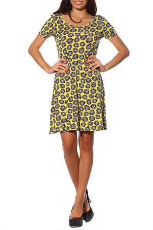 Классическое платье Цветы на жёлтом PunkQueen. Цвет: желтый