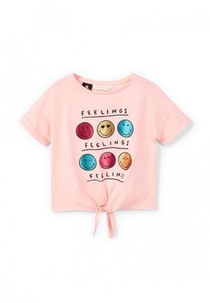 Футболка Mango Kids. Цвет: розовый