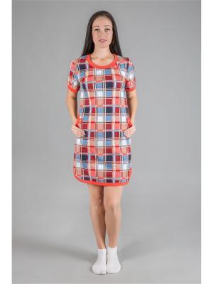 Платье-туника НАТАЛИКА. Цвет: оранжевый, серо-голубой