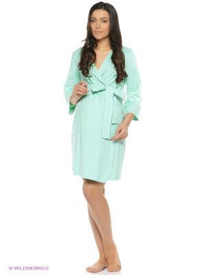 Халат для беременных и кормящих Hunny Mammy. Цвет: светло-зеленый