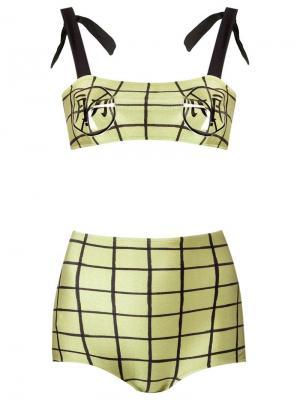 Grid print bikini set Adriana Degreas. Цвет: зелёный