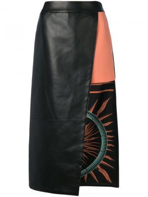 Асимметричная многослойная юбка Fausto Puglisi. Цвет: чёрный