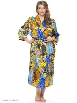 Халат Del Fiore. Цвет: золотистый, серо-голубой