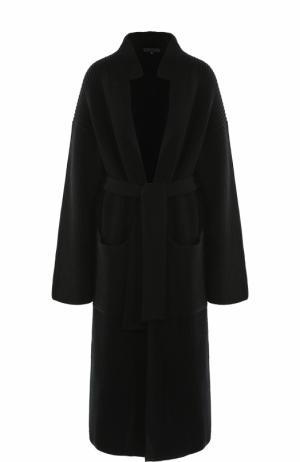 Удлиненный шерстяной кардиган с поясом Tegin. Цвет: черный