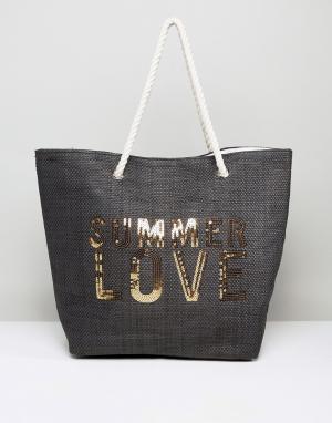 South Beach Пляжная соломенная сумка. Цвет: черный