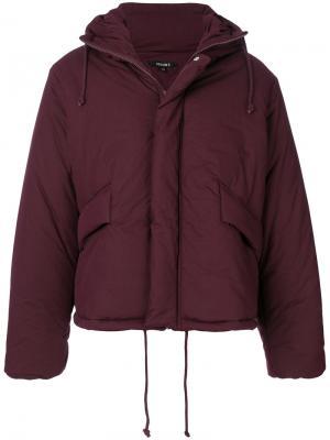 Пальто-пуховик с капюшоном Yeezy. Цвет: розовый и фиолетовый