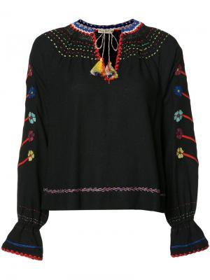 Блузка с вышивкой Ulla Johnson. Цвет: синий