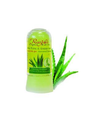 Дезодорант-кристалл Райсанс алое вера и зеленым чаем 80г Rasyan. Цвет: белый