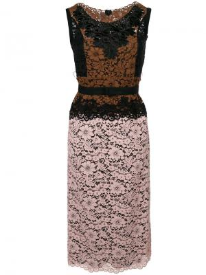 Платье с контрастными кружевными вставками Antonio Marras. Цвет: многоцветный