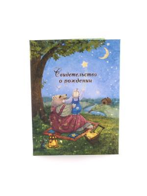 Авторская обложка для свидетельства о рождении Рождение звезды Dream Service. Цвет: бирюзовый, золотистый, розовый