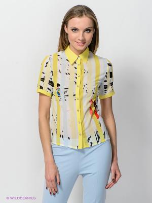 Рубашка TOPSANDTOPS. Цвет: желтый, темно-серый, молочный