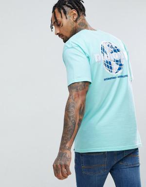 Diamond Supply Зеленая футболка с надписью Worldwide на спине. Цвет: зеленый