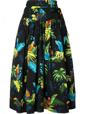Плиссированная юбка с принтом попугаев Marc Jacobs. Цвет: чёрный