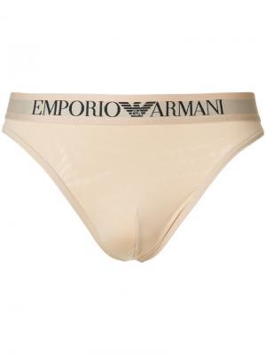 Трусы с логотипом Emporio Armani. Цвет: телесный