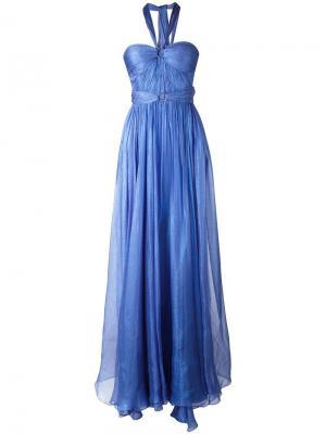 Вечернее платье с завязками на шее Maria Lucia Hohan. Цвет: синий