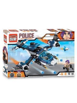 Конструктор Самолет Полиция с фигурками, 275 дет. ENLIGHTEN. Цвет: синий, серый