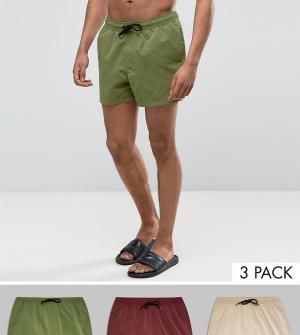 ASOS 3 пары коротких шортов для плавания (хаки/сливовые/бежевые). Цвет: мульти