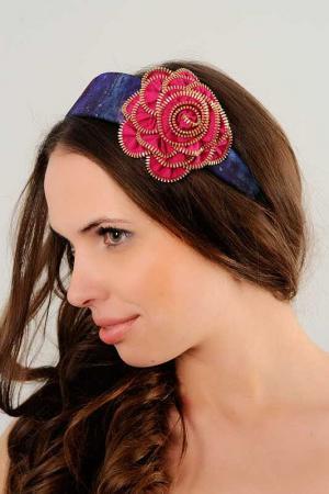 Ободок с розой Allezye. Цвет: оттенки синего