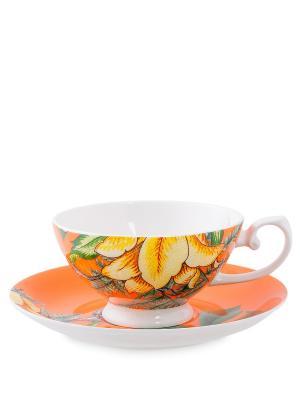 Чашка с блюдцем Тропикана оранжевая (Stechcol) Stechcol. Цвет: белый