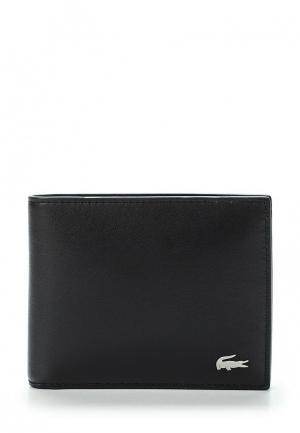 Комплект портмоне и брелок Lacoste. Цвет: черный