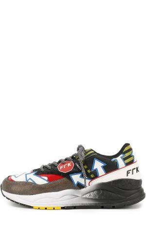 Кожаные кроссовки с текстильной отделкой Frankie Morello. Цвет: разноцветный