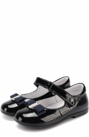 Лаковые туфли с застежкой велькро и бантом Naturino. Цвет: синий