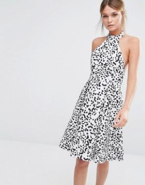Keepsake Платье с принтом и халтером. Цвет: мульти