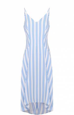 Платье свободного кроя в полоску с V-образным вырезом Balenciaga. Цвет: голубой